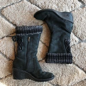 Ugg shearling wedge boots with sweater cuff 8